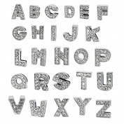 A-Z Letter Slide Charm, Nickel Free Alloy Rhinestone Beads 8mm DIY Crafts, Jewellery Making, Charms