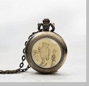 Pendant Pocket Watch ,Necklace Pocket Watch Charm, Book Art Pendant Pocket Watch Glass Tile Jewellery,glass Classic Pooh Watch,Potphoto