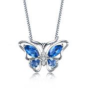 Sterling Silver London Blue Topaz Sapphire Butterfly Pendant Necklace