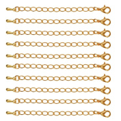 New 10 Packs of Necklace Extenders Jewellery Extension Chain 7.5 mm-Gold/Silver - Gold, 75 mm