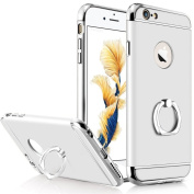 iPhone 6 Plus Case,Inspirationc® Ultra-thin 3 in 1 Plastic Hard Skin 360 Degree Rotating Ring Kickstand for Apple iPhone 6 Plus/6S Plus 5.5 Inch--Silver