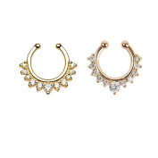 HONBAY 2 Piece Clip on Jewellery Creative Fake Septum Clicker Nose Ring