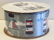 Lighthouses & Sailboats 3.8cm Satin Ribbon - Pkg. of 2.7m