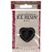 Ice Resin Milan Bezels Closed Back Heart Medium-Antique Silver