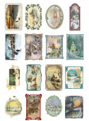 Decoupage Paper Pack (10sheets A4 / 20cm x 30cm ) Christmas Winter Landscapes FLONZ Vintage Ephemera