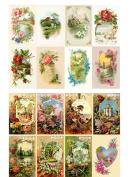 Decoupage Paper Pack (10sheets A4 / 20cm x 30cm ) Spring Landscapes Garden Wildflowers FLONZ Vintage Ephemera