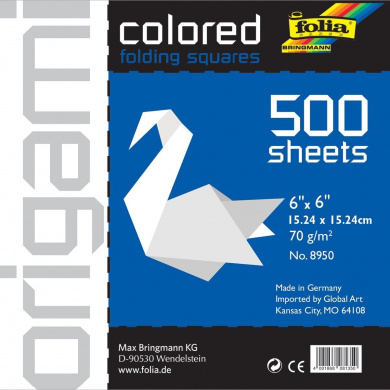 Folia Origami Paper 15cm -by-15cm White 500 Sheet Bulk Pack