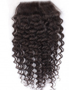 8.9cm x 10cm Brazilian Curly Human Hair Lace Closures Free Part 100% Unprocessed Remy Hair Closure Top Extensions Bleached Knots With Baby Hair 25cm Natural Colour