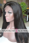 Chantiche® Best Natural Looking Silky Straight Full Lace Wig Brazilian Remy Human Hair Wigs 130% Density 60cm #1B Medium Cap Size Medium Brown Lace
