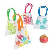 4 ~ Luau Turtle Mini Tote Bags / Gift Bags ~ 20cm x 20cm / non-woven material ~ New