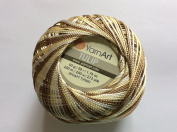 Variegated Brown, Yellow, White - Yarn Art Tulip Size 10 Microfiber Thread - 50 Gramme, 273 Yards