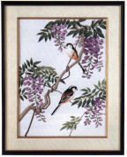 Tokyo Bunka Shishu 112 Wisteria and Long Tail Tit Japanese Punch Embroidery Kit