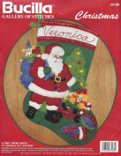 A Visit from Santa 38cm inch Diagonal Felt Stocking Bucilla Gallerie of Stitches