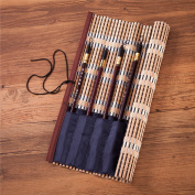 "Bamboo Calligraphy Brush Holder Rollup Protection, 8 Compartments Pouch Organiser 36x36cm (14x14"") - Large"