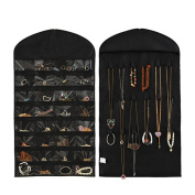 Hanging Jewellery Organiser Dual Sides Space-saving Household Jewellery Closet Dress Bag Bracelet Earring Ring Necklace Holder Hang Hook Bag 32 Pockets
