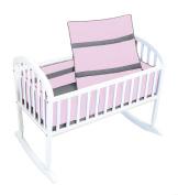 Baby Doll Solid Stripe Cradle Bedding Set, Pink/Grey