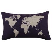 Hatop Cotton Linen World Map Decorative Cushion Cover Pillowslip Case Cover