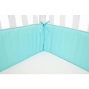 TL Care Cotton Percale Mini Crib Bumper, Aqua