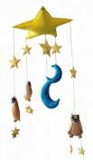 Silk Road Bazaar Owls and Stars, Yellow/Blue/Brown