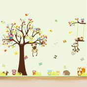 4 Pcs Set Large Monkey Owl Tree Wall Stickers Jungle Animal Decal Home Decor Kids Nursery Art