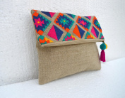 Boho pouch Linen bag, kilim pattern Moroccan Foldover Clutch Embroidered 25cm X 20cm