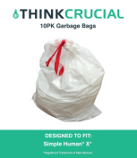 10PK Durable Garbage Bags Fit Simple Human X, 80L / 80l