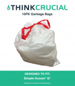 10PK Durable Garbage Bags Fit Simple Human Q, 50-65L / 49.2-64.4l