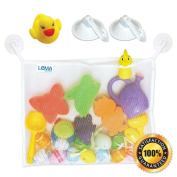 LeMA Bath Toy Organiser + 2 Bonus Strong Hooked Suction Cups Hang Bath Body Brush or Towel + Bonus Duck Toy Included. White, Large Size, Mould Free.