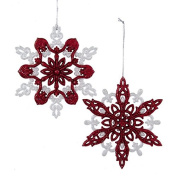 Club Pack of 24 Nordic Red and White Glitter Snowflake Christmas Ornaments 13cm