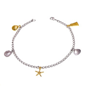 Sea Life Starfish Nautical Anklet TwoTone by Cape Cod Jewellery-CCJ