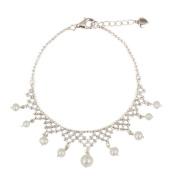 White Cultured Freshwater Pearl .925 Silver Beaded Bracelet, 18cm 'Inspired Tiara'
