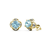 Aquamarine and Diamond (SI2-I1, G-H) Tulip Stud Earrings 1.34 ct tw in 14K Yellow Gold