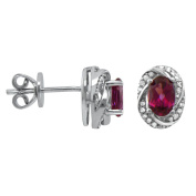 Oval Rhodolite Garnet Earrings in Sterling Silver and White Topaz Accent