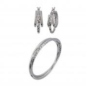 G & H Sterling Silver Multi Hoop and Bangle with Diamond Cut Set