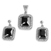 Halo Rectangle Earrings Black Simulated CZ Clear Simulated CZ .925 Sterling Silver Pendant Set