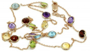 Multicolor 5 mm Gemstones 50cm Necklace 14k Rose Gold Chain,3.8 Grammes