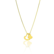 14k Yellow Gold 41cm - 46cm Extendable Double Heart Love Charm Pendant Necklace for Women and Teen Girls - SL Gold Imports
