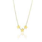 14K Yellow Gold 41cm - 46cm Extendable Fine Three Star Charms Pendant Necklace for Women and Teen Girls - SL Gold Imports