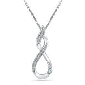 10 KT White Gold Two Stone White Round Diamond Fashion Pendant