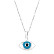 Medium 'Mati' Mother-of-Pearl Evil Eye Pendant Necklace in Sterling Silver