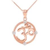 14k Rose Gold Diamond Roped Medallion Yoga Charm Om Pendant Necklace