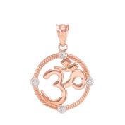 14k Rose Gold Diamond Roped Medallion Yoga Om Charm Pendant