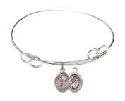 Rhodium Plate Bangle Bracelet with Saint Christopher Tennis Athlete Charm, 22cm