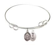 Rhodium Plate Bangle Bracelet with Saint Kateri Equestrian Athlete Charm, 19cm