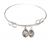 Rhodium Plate Bangle Bracelet with Saint Christopher Volleyball Athlete Charm, 20cm