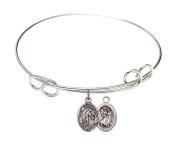 Rhodium Plate Bangle Bracelet with Saint Christopher Basketball Athlete Charm, 19cm