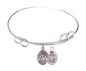 Rhodium Plate Bangle Bracelet with Saint Christopher Navy Charm, 19cm