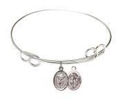 Rhodium Plate Bangle Bracelet with Saint Sebastian Cheerleading Athlete Charm, 19cm