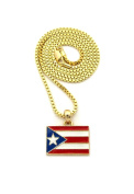 "Women's Puerto Rico Flag Pendant 2mm 16"", 18"", 20"" Box Chain Necklace in Gold Tone"