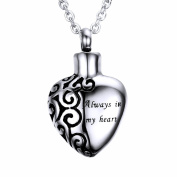 "Stainless Steel ""Always in my heart"" Urn Pendant Memorial Ash Keepsake Cremation Heart Necklace, 50cm Chain"